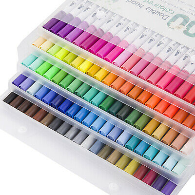 12/24/36/48/60/80/100 Color Dual Tip Marker Pen Set Graphic Art Sketch Brush AU