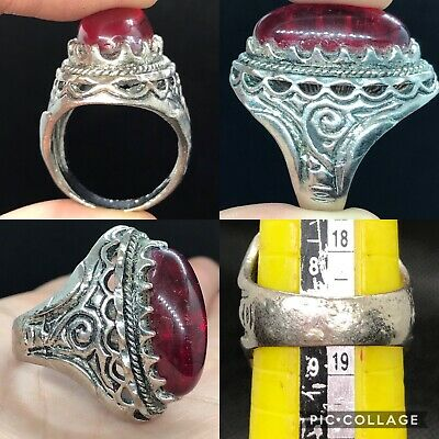 Unique Rare Beautiful post Medieval antique ring with red glass