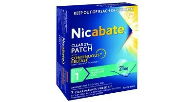 Nicabate Patch Clear 21mg Step 1 [x4 Boxes] (28 Total) FREE SHIPPING