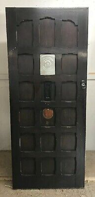 Solid Oak Front Door Antique Period Old Reclaimed Lead Wood Arts Crafts Carved