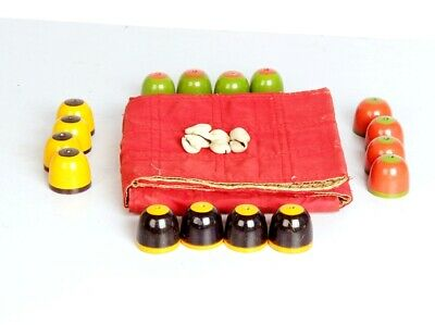 Antique Look Chess Set / Chaupar Mughal Rare Complete  Small Set  Cloth Board