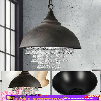 Rustic Industrial Lamp Crystal Pendant Light Loft Vintage Chandelier Lantern US