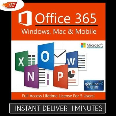 Best Instant Deliver Microsoft Office 365 Pro + For Mac & Win - 5 Devices NOW
