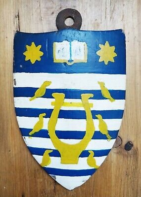 Antique Naive Hand Painted wood HERALDIC Crest SHIELD PLAQUE Coat of Arms