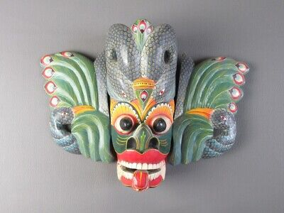 Vintage Mask Ornament Wall Wooden Carved and Painting One