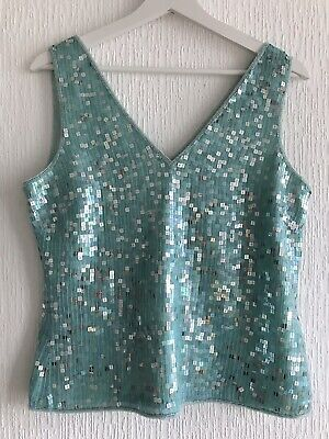Uk 12 Mint Green Sparkly Sequin Top Pretty/Celeb/Glam/Posh/Wear/Fit/Towie/Fun
