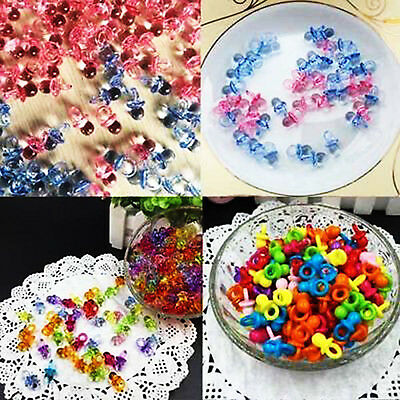 100Pcs Mini Pacifiers Baby Shower Favors Clear Girl Boy Christening Party Decors