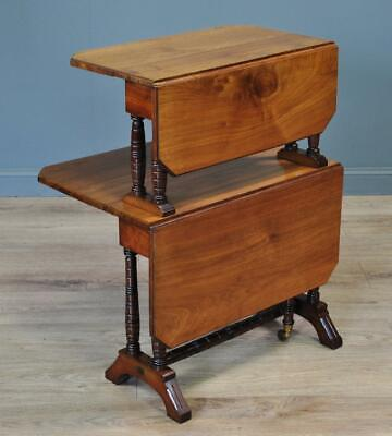 Attractive Small 2 Tier Antique Victorian Sutherland Walnut Drop Leaf Side Table