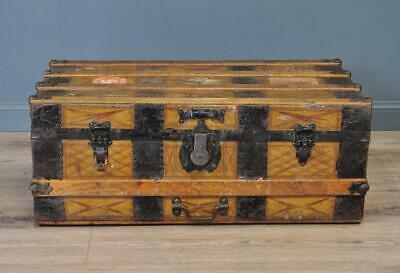 Attractive Antique Leather & Metal Bound Chest Storage Shipping Trunk Toy Box