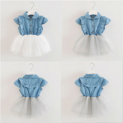 Toddler Infant Baby Kid Girl Denim Tutu Tulle Princess Dresses Sundress Outfits