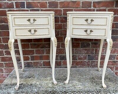 Elegant Pair Of Vintage French Louis Style Olympus Bedside Cabinets
