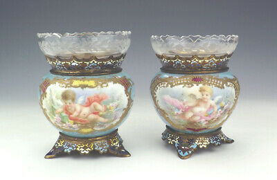 Antique Pair Of French Champleve Enamel & Porcelain Cherub Panelled Vases