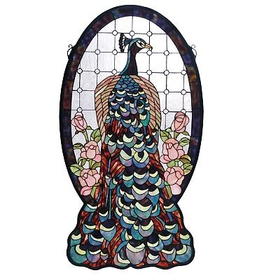 Meyda Peacock Profile Stained Glass Hanging Panel