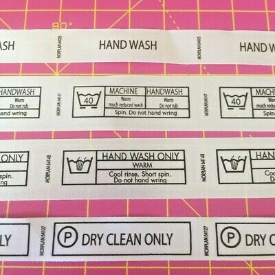 WASH CARE LABELS - Professional Labels - PRINTED NYLON - SEW IN - ASSORTED PACK