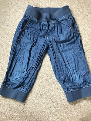 Girls Next Cropped Harem Style Trousers Age 7 Denim Colour Soft Cotton