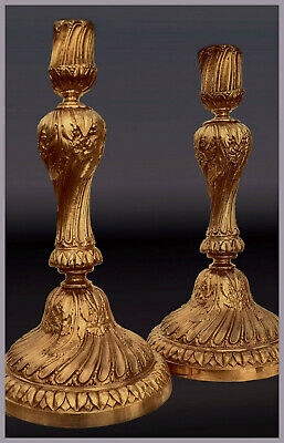 A Pair Of Heavy French Gilt Bronze Louis XVI  Style Candlesticks. 28,0 x 15,0.