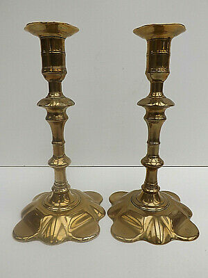 George III - 3rd Quater Pair Of William Lee Brass Candlesticks Stamped On Base