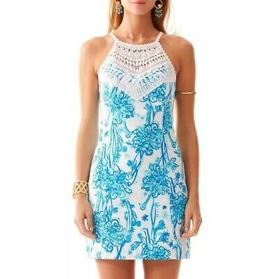 dc51ed410aa123 Lilly Pulitzer sz 14 Pearl Lace Neck Shift Dress Blue & White Back It Up  Print