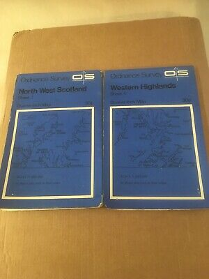 2 Sheets Ordnance Survey Maps NorthWest Scotland Western Highlands Quarter-Inch
