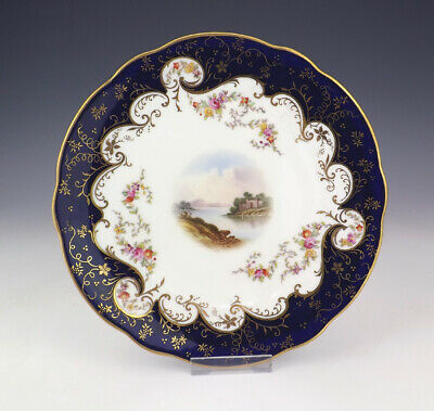 Antique Coalport China Hand Painted Loch Lomond Plate - With Cobalt Blue Borders