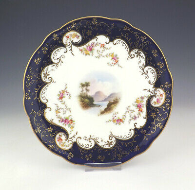 Antique Coalport China Hand Painted Hawthornden Plate - With Cobalt Blue Borders