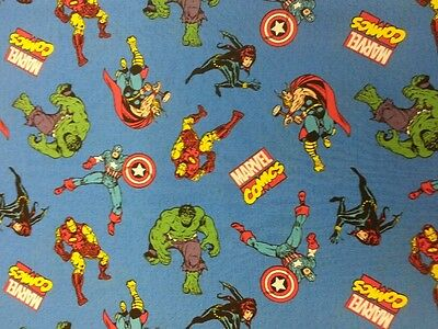 New! AVENGERS  MARVEL FABRIC 100% COTTON METRE MATERIAL THOR HULK IRON MAN BLUE