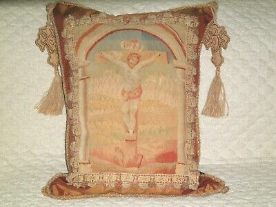 RARE LATE 18TH c - EARLY 19TH c AUTHENTIC AUBUSSON TAPESTRY OF JESUS PILLOW
