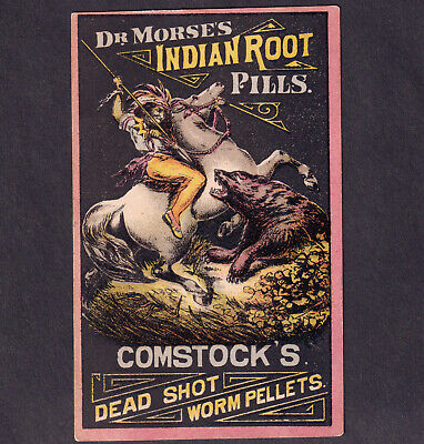 Dr Morse's Indian Root Pills 1800's Worm Cure Bear Horse Victorian Trade Card