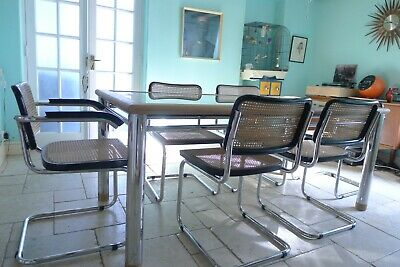 Set of 6 Marcel Breuer cesca chairs & matching table. Mid century Italian Chrome