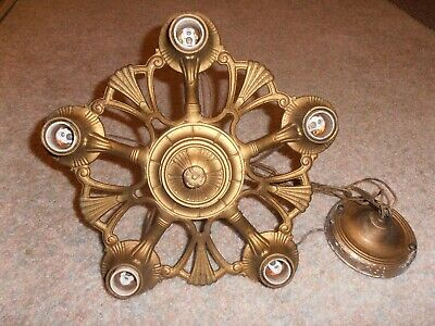 Antique Art Deco  Cast Iron  5 Light Hanging  Chandelier Light Fixture