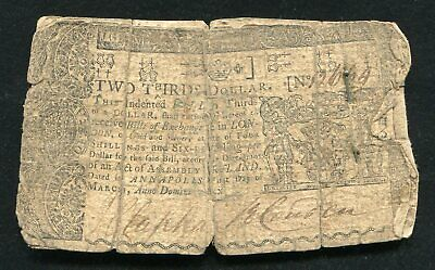 Md-54 March 1, 1770 $2/3 Two Thirds Dollar Marlyand Colonial Currency Note
