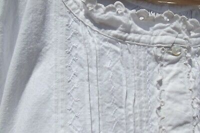 Antique French Victorian Tunic Dress Hand worked lace and feather stitch Nightie