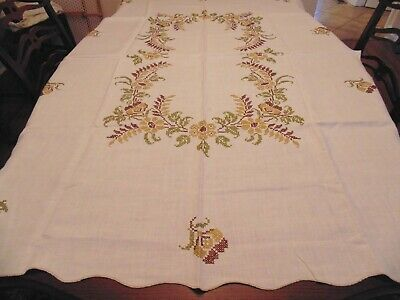 Lovely vintage all linen hand embroidered tablecloth, flowers and leaf design