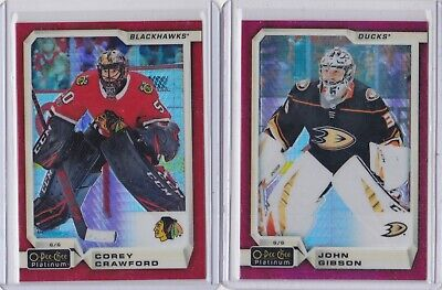 2018/19 O Pee Chee Platinum Lot Of (2) John Gibson/Corey Crawford Red Prism /199