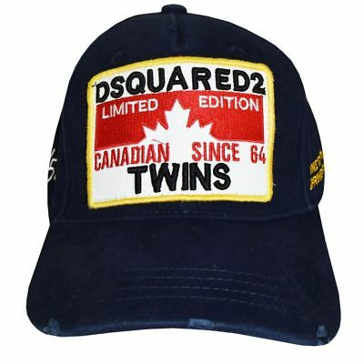"""Dsquared2 Hat NAVY Canadian SINCE 64 """"TWINS"""" 2018 Limited Edition Baseball Cap"""