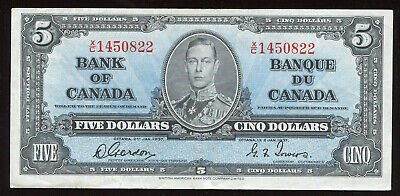 1937 Bank of Canada $5 Note - BC-23b Transitional Prefix S/N: X/C1450822