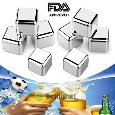 8x Stainless Steel Ice Cubes Whiskey Stones ,Non Slip Rubber End Tongs & Plastic