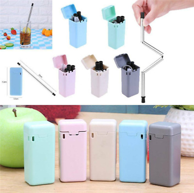 Reusable Collapsible Straw Stainless Folding Drinking Metal Straw for Outdoor