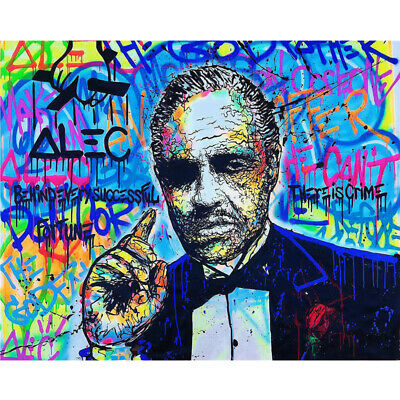 Alec Monopoly ''The Godfather'' Oil Painting on Canvas Graffiti Art Poster