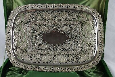 Antique Ornate Victorian Pierced footed Silver Plate Shallow Bowl Roses Tray