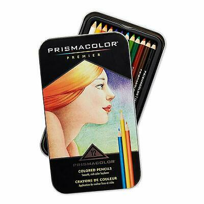 Prismacolor Premier, Colored Pencils, Soft Core, 12 Count, Tin Case, New
