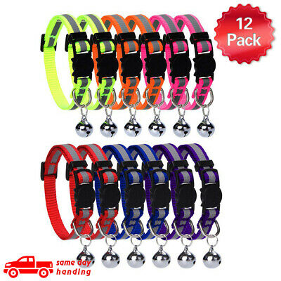 12 Pcs Cat Reflective Collars Breakaway with Bell Nylon Colorful for Kitty