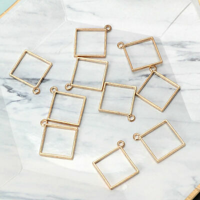 10Pcs Square Pendant Resin Frame Open Back Bezel Setting UV Resin Jewelry Making