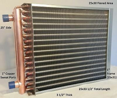 "25x30 Water to Air Heat Exchanger~~1"" Copper ports w/ EZ Install Front Flange"