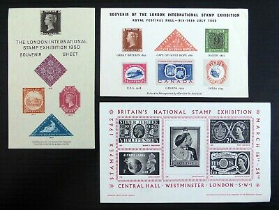 GB 1960 London Stamp Exhibition original sheets with Classics (3 Items) NQ600