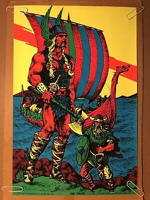 The Viking Boat Original Vintage Blacklight Poster 1970 Houston psychedelic 70s