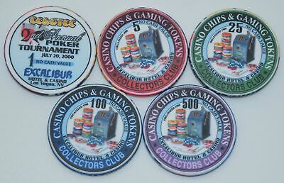 Set of 5 Excalibur 1-5-25-100-500 NCV Casino Chips Las Vegas Nevada ChipCo.