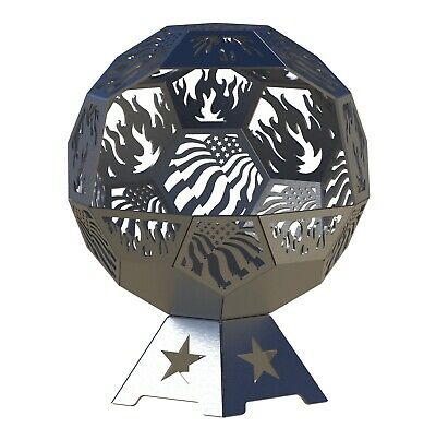 FLAG Fire Pit DXF Files Geodesic 24 InchFull Dome Flag CNC Plasma Files