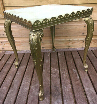 Vintage Italian Solid Brass & Onyx Marbel Hollywood Occassional Side Table 70s