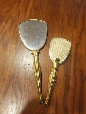 Vtg Hand Held Mirror with matching Brush Vanity Gold Tone Floral